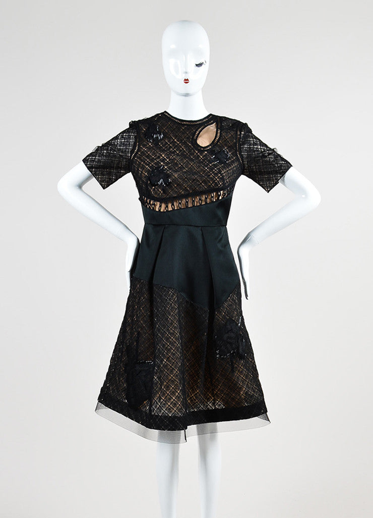 Black Prabal Gurung Beaded Short Sleeve Flounce Dress Front