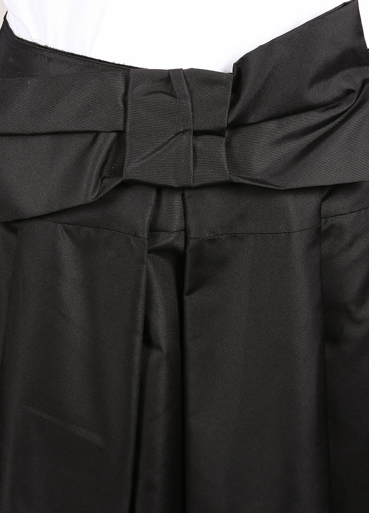 Prada Black Silk Pleated Bow A-Line Skirt Detail