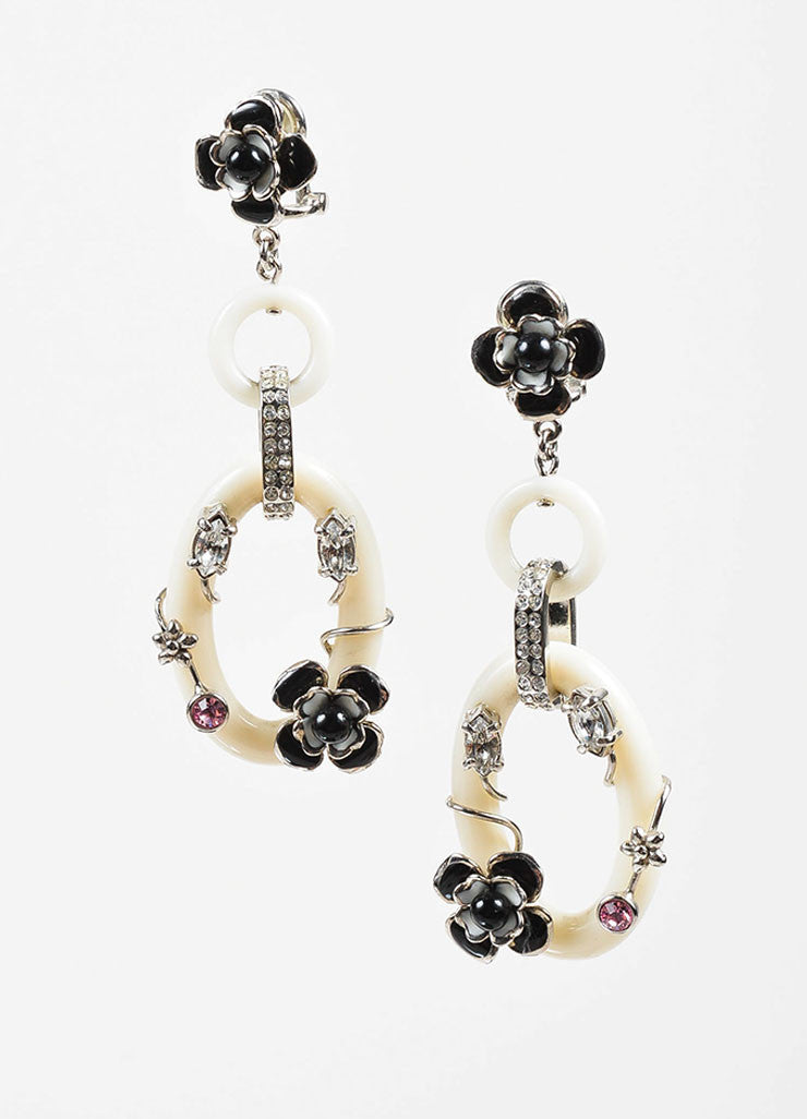 White Resin, Enamel, and Crystal Prada Link Clip On Drop Earrings Frontview