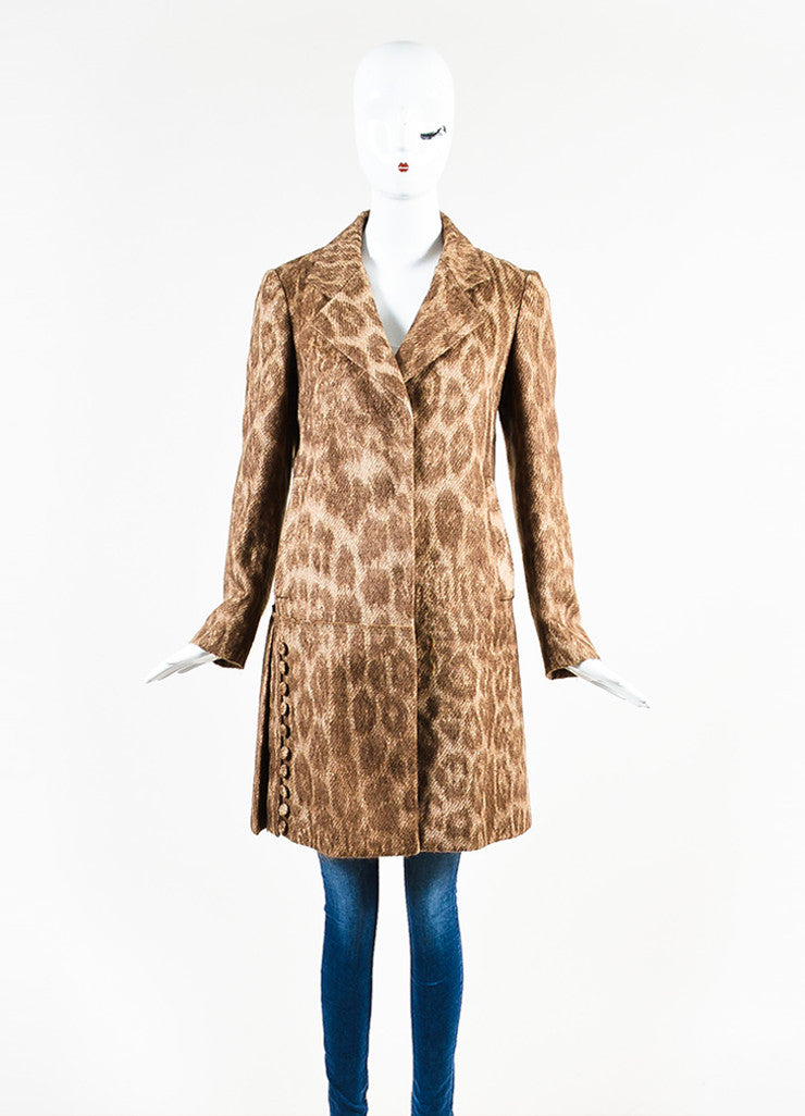 Prada Brown and Cream Mohair and Wool Blend Animal Spotted and Pleated Coat Frontview 2