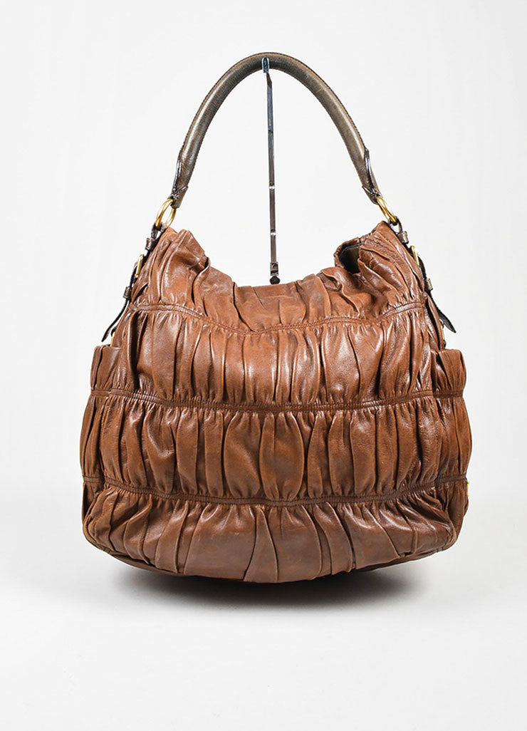 "Brown and Green Prada Nappa Leather Gaufre Ruched ""Sacca"" Hobo Bag Frontview"