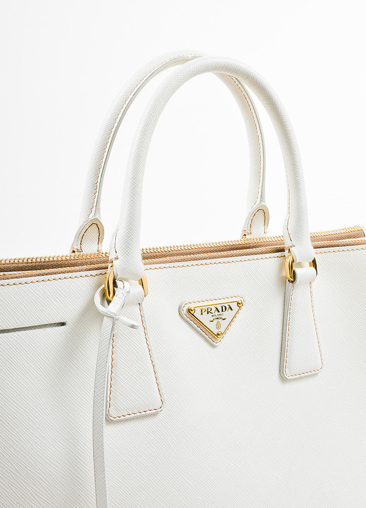 "Cream-White Prada Leather ""Saffiano Lux Small Double Zip"" Tote Handbag Detail 2"