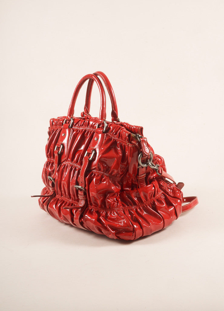 "Prada Red Patent Leather ""Rosso Vernice Gaufre"" Satchel Shoulder Bag Sideview"