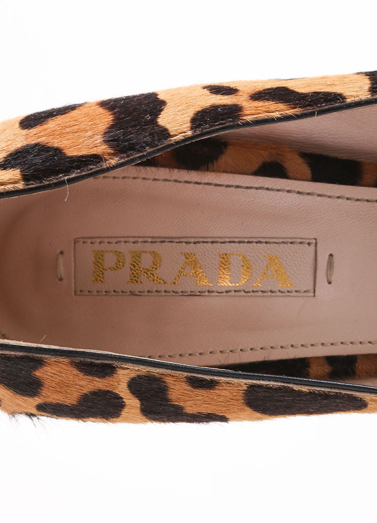 Prada Tan and Brown Pony Hair Leopard Print Peep Toe Platform Pumps Brand