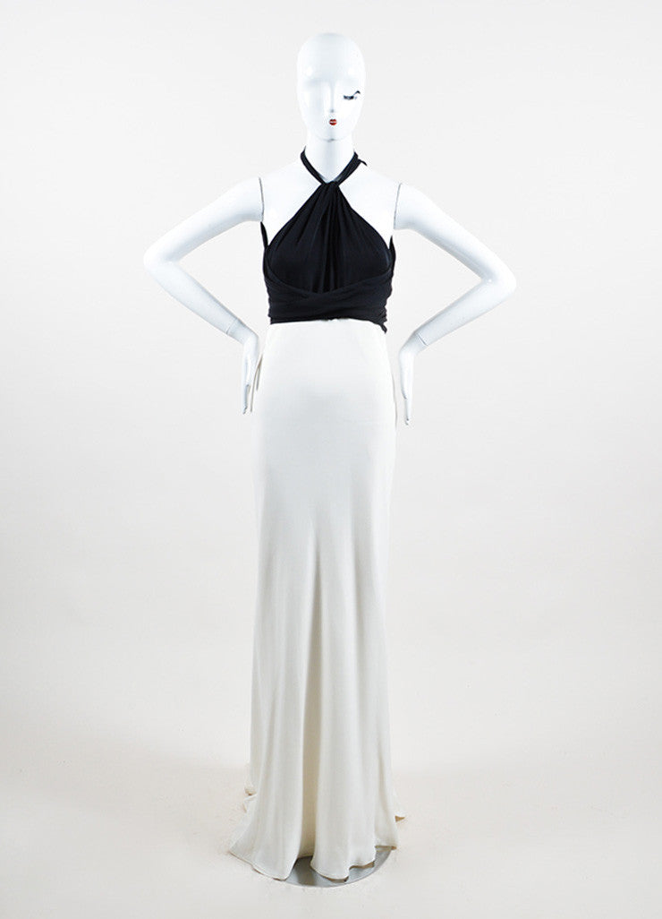 Cream and Black Ralph Lauren Silk Tie Draped Sleeveless Halter Gown Frontview