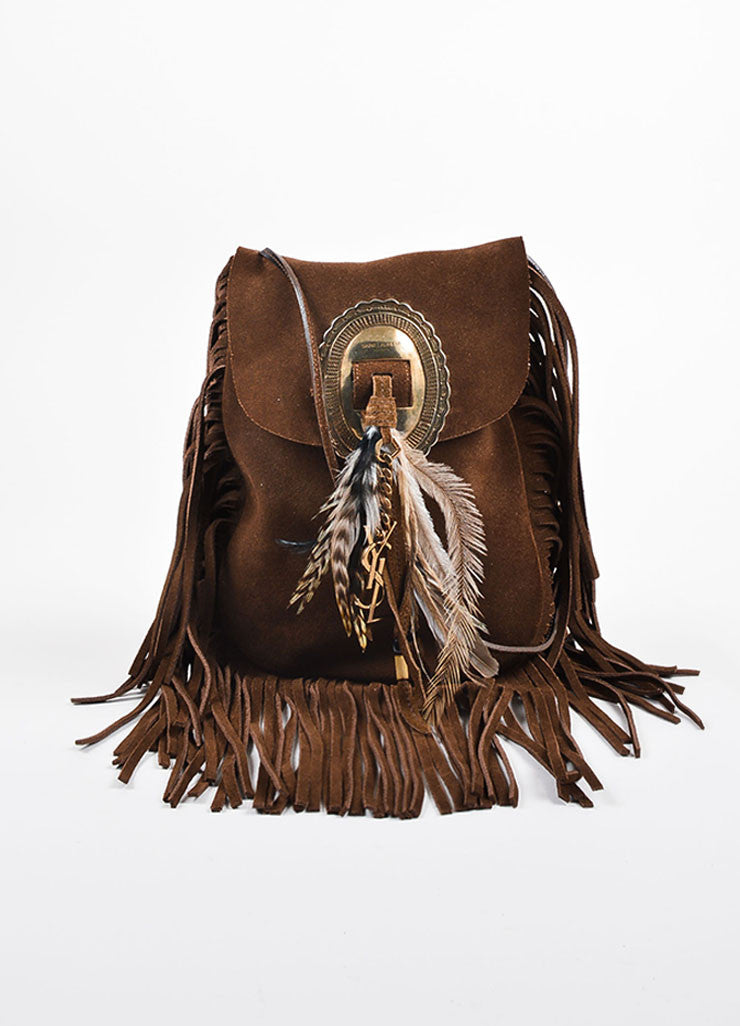 "Saint Laurent Brown Suede Fringe Feather ""Anita"" Flat Bag Frontview"