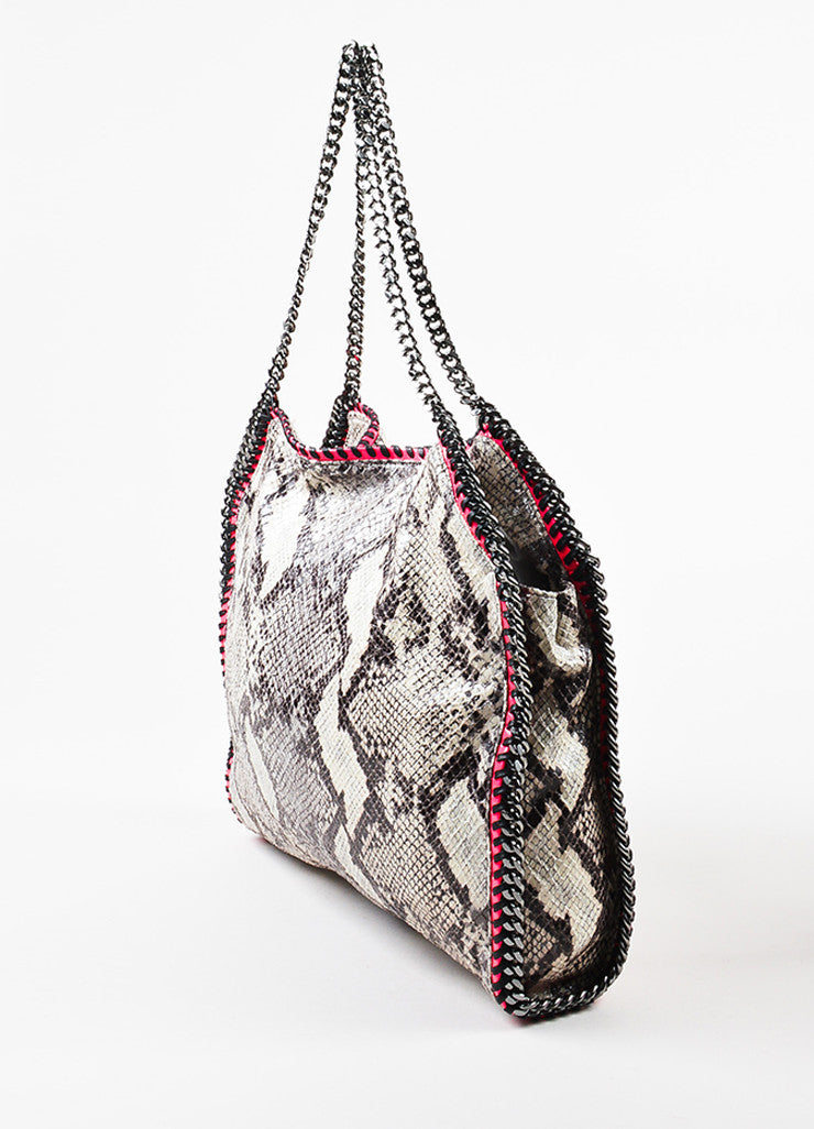 "Stella McCartney Grey and Neon Pink Python Print Faux Leather Chain ""Falabella"" Bag Sideview"