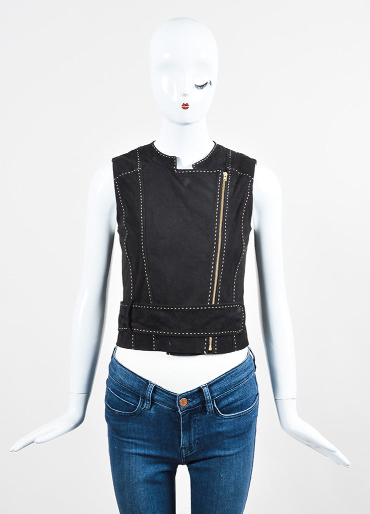 Tamara Mellon Black Suede Leather Stitch Trim Zip Up Belted Vest  Frontview