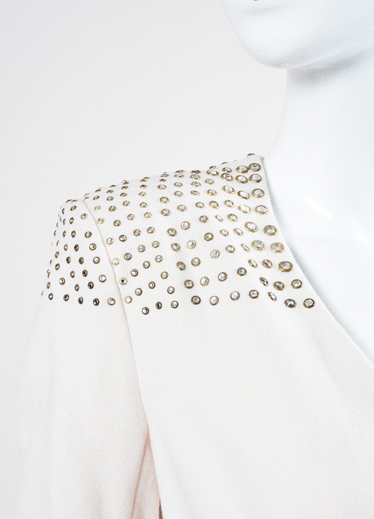 Cream Temperley London Wool Cashmere Bejeweled Full Length Coat Detail
