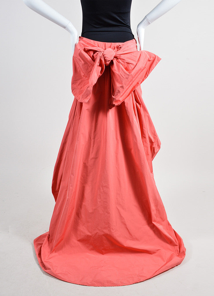 Coral Thakoon Ruched Tie Back Bustle High Low Skirt Backview
