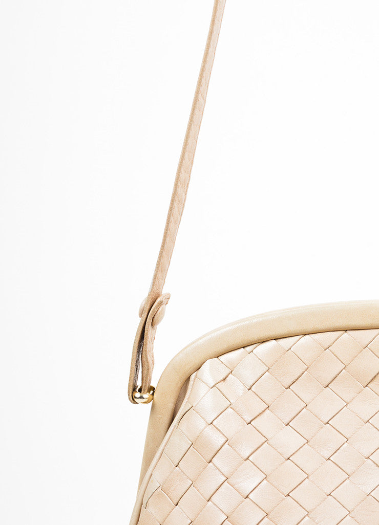 Beige Bottega Veneta Woven Intrecciato Leather Frame Shoulder Bag Detail 2