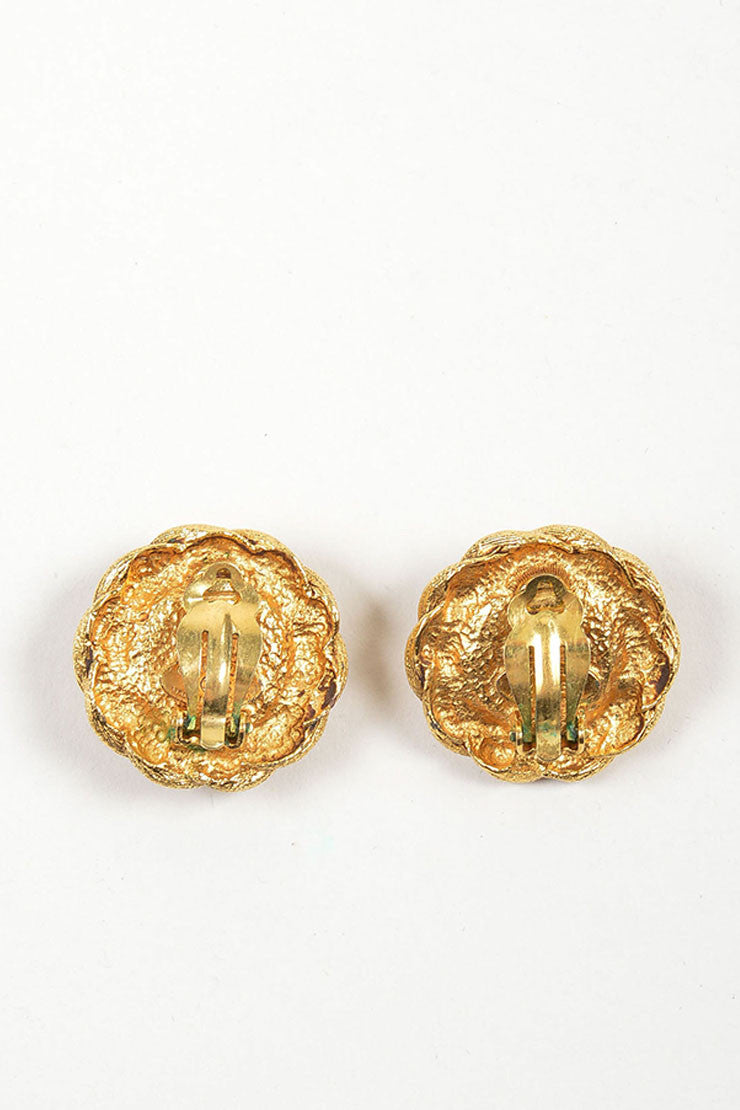Gold Toned and Green Chanel Gripoix Glass Stone Clip On Button Earrings Backview