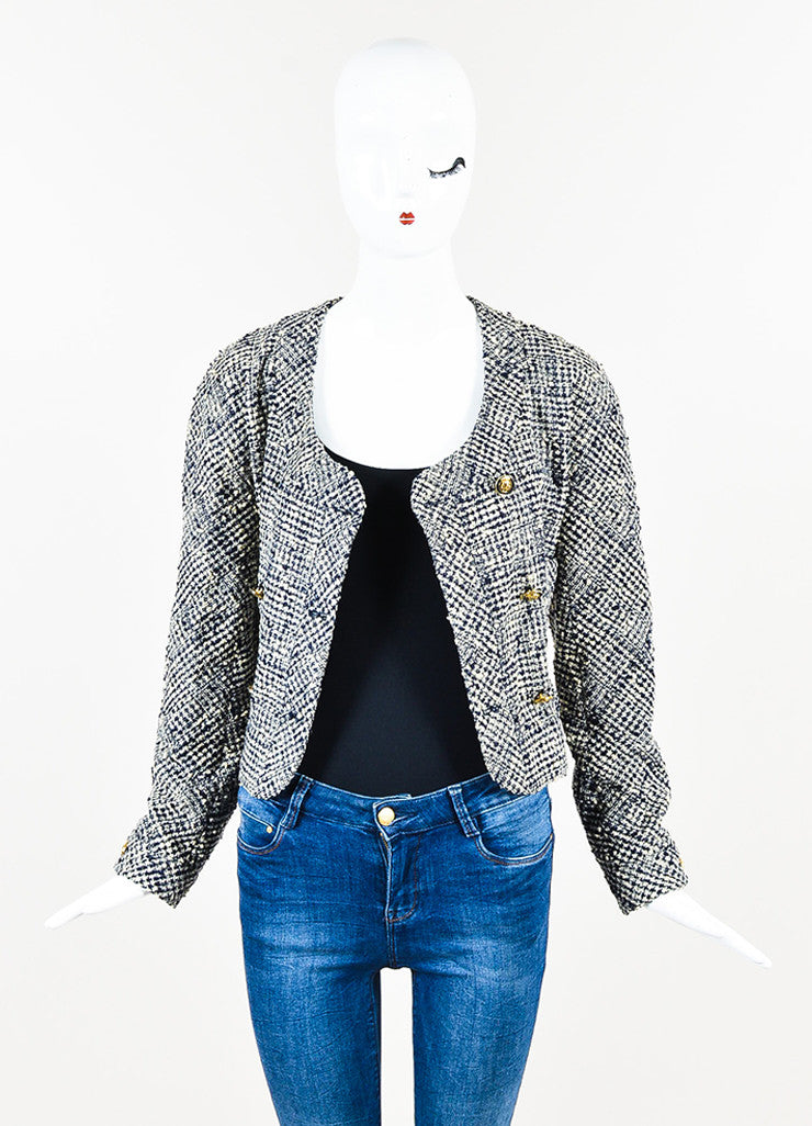 Chanel Navy and Cream Tweed Double Breasted Cropped Jacket Frontview