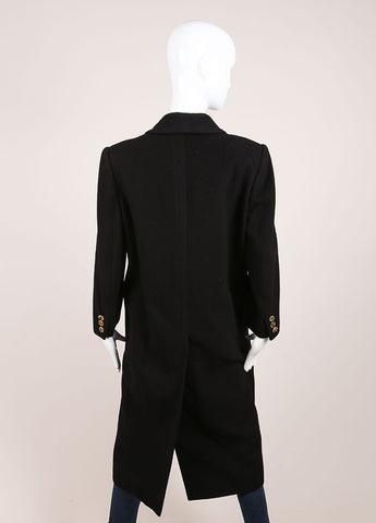"Hermes Black ""H"" Button Double Breasted Longline Cashmere Coat Backview"