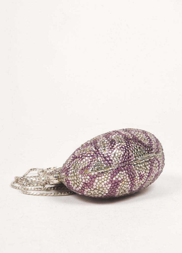 Judith Leiber Silver Toned and Purple Rhinestone Embellished Chain Strap Shell Clutch Bag Bottom View