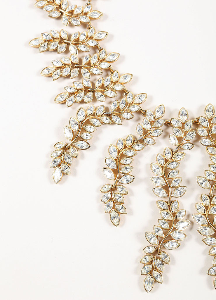 Kenneth Lane Gold Toned and Clear Rhinestone Leaf Statement Necklace Detail