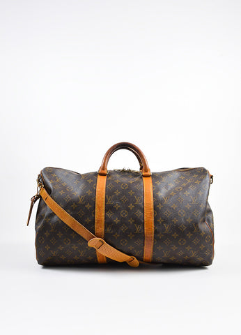 "Brown Louis Vuitton Coated Canvas ""Keepall Bandouliere 50"" Duffle Bag Frontview"