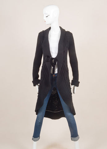 Valentino Black Cable and Popcorn Knit Wool and Velvet Tie Long Sleeve Sweater Cardigan Frontview