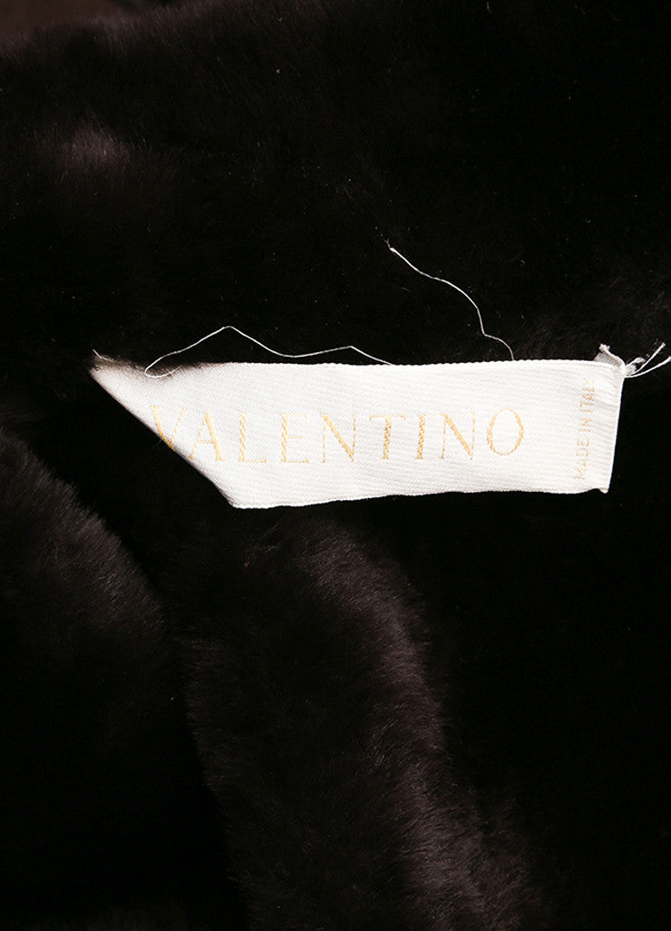 Valentino Dark Brown Suede Shearling Belted Long Coat Brand