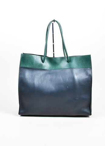 "Forest Green and Charcoal Grey Valentino ""Shopping Bag""  Leather Tote Frontview"