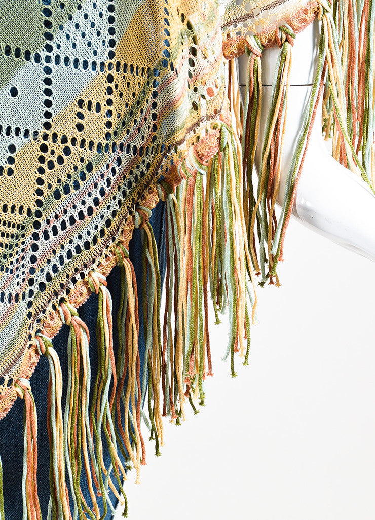 Brown, Cream and Green Valentino Silk Blend Striped Fringed Poncho Detail