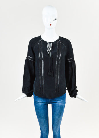 "Veronica Beard Black Silk Perforated ""Alpine"" Long Sleeve Boho Blouse Frontview"