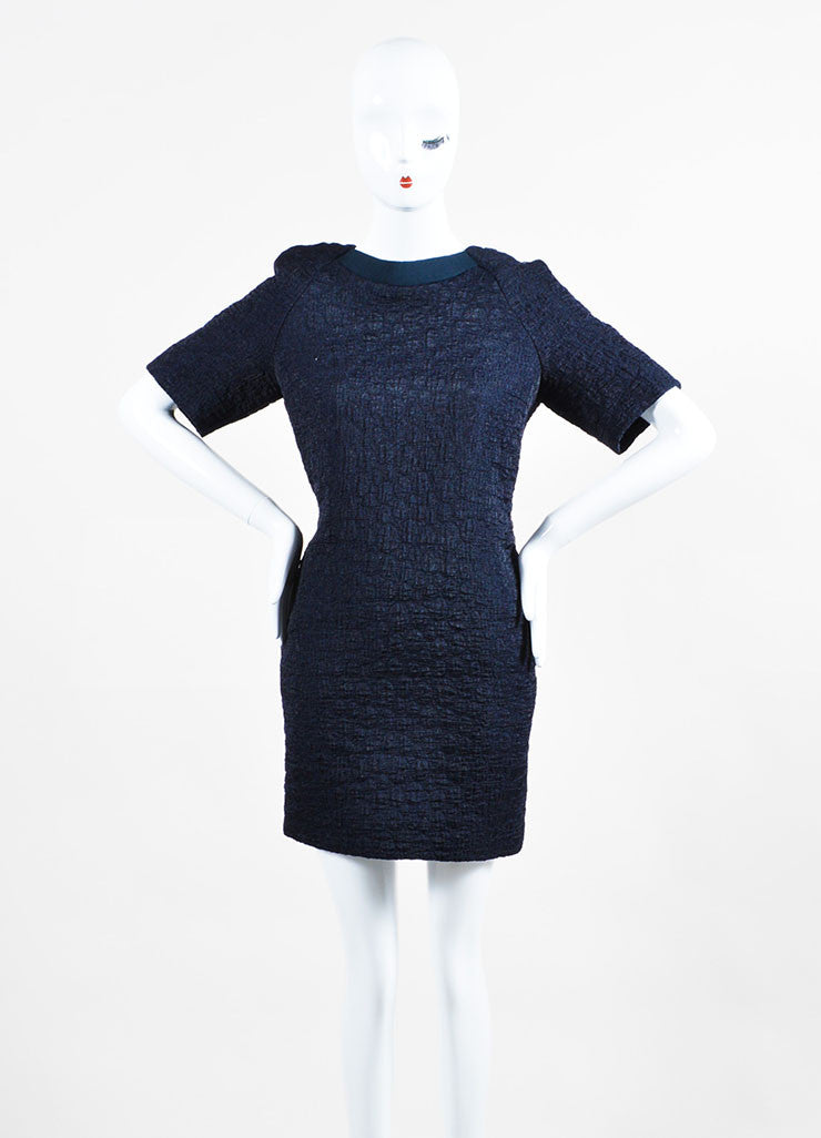 Navy Blue Victoria Victoria Beckham Wool Blend Short Sleeve Belted Dress Frontview