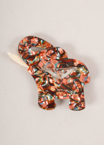 Lea Stein Brown Acetate Elephant Brooch Backview