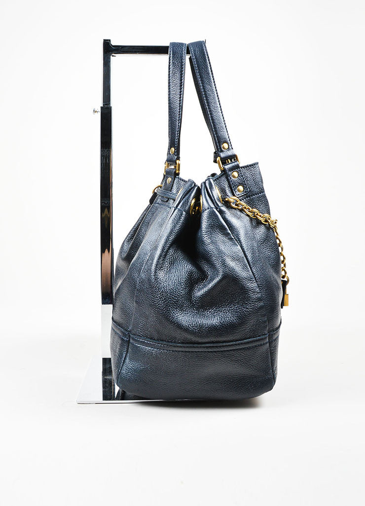 "Navy Leather Gold Toned Chain Drawstring Yves Saint Laurent ""Faubourg"" Tote Bag Sideview"