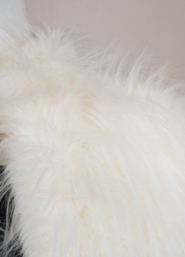 White Thick and Shaggy Long Faux Fur Coat