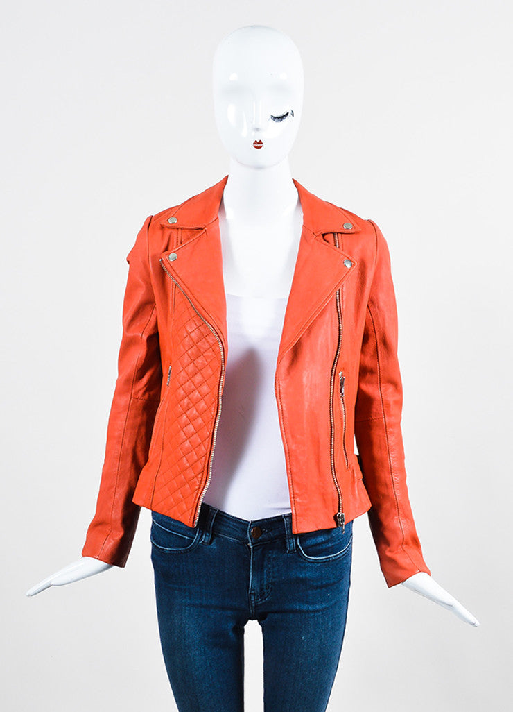Deep Orange Maje Leather Quilted Moto Jacket Frontview