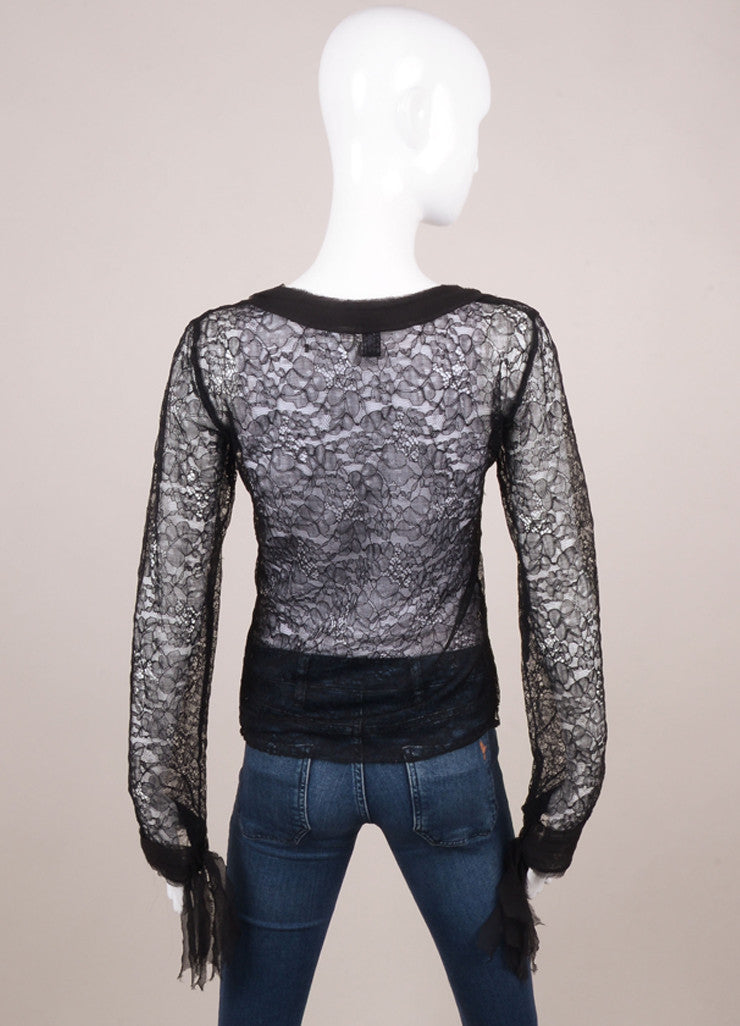Black Lace Long Sleeve V Neck Bow Collar Top