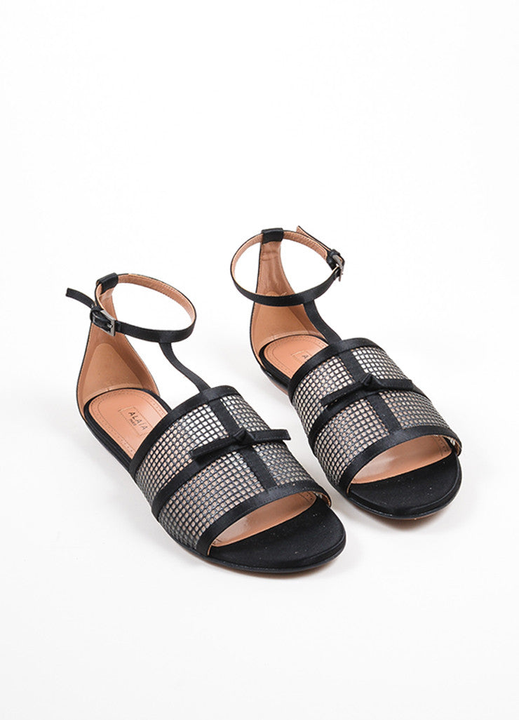 Black Alaia Satin and Mesh Knotted Bow Ankle Strap Sandals Frontview
