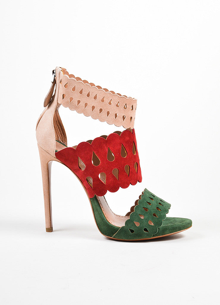Nude, Red, and Green Alaia Suede Lazer Cut Heeled Sandals Sideview