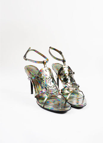 "Alexander McQueen ""Oil Slick"" Leather Skull ""Polar Lights"" Sandals Frontview"