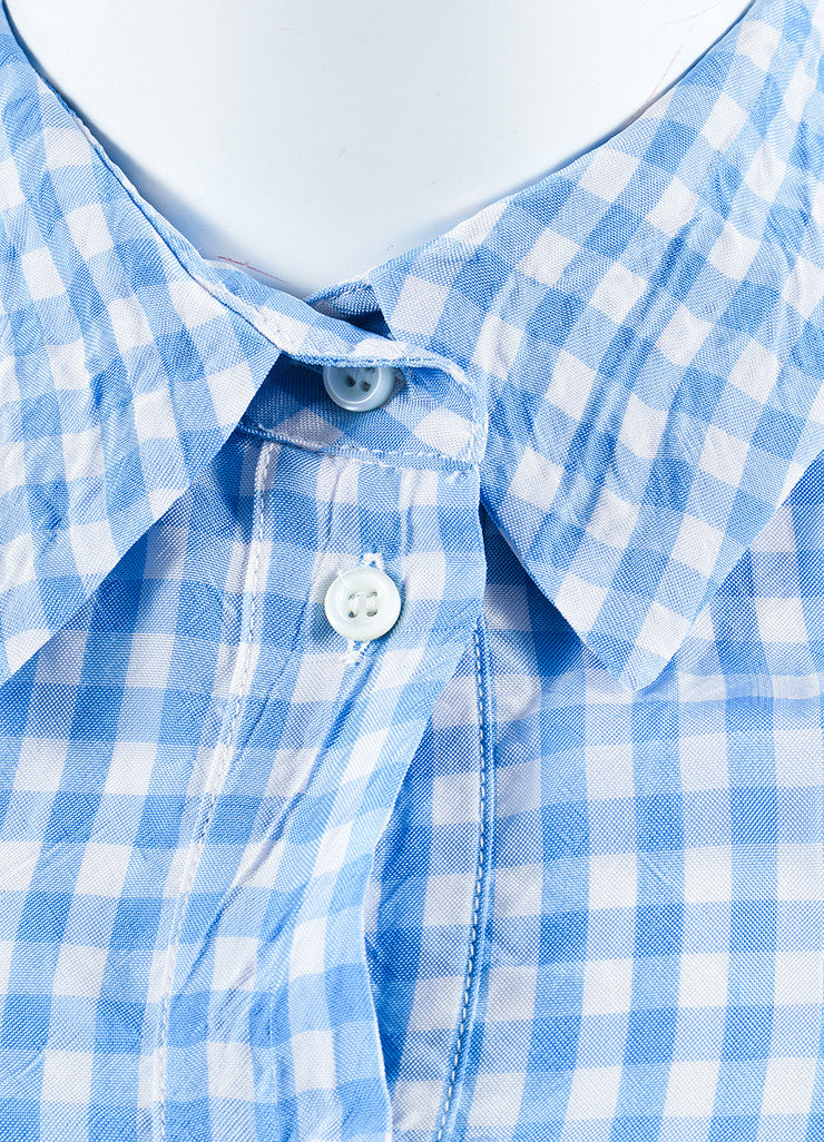 Altuzarra Blue, White, and Black Cotton and Silk Gingham Long Sleeve Shirt Dress Detail