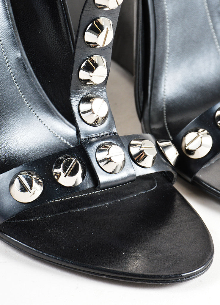 Balenciaga Black and Silver Leather Studded T Strap Wedges Detail