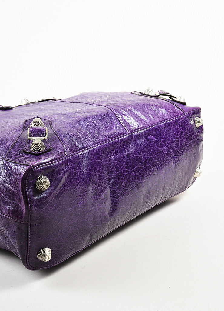 "Balenciaga Purple Wrinkled Distressed Leather Silver Toned Stud ""Giant Step"" Bag Bottom View"