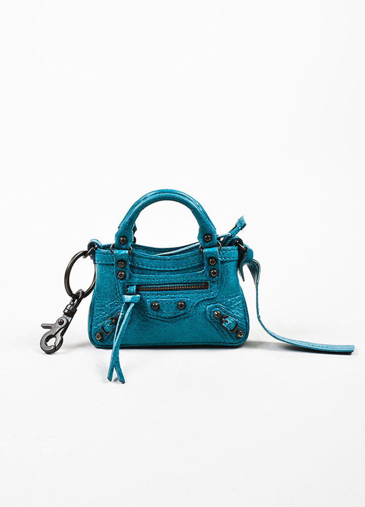 "Balenciaga Teal Blue Leather Studded Classic Mini ""Tiny First"" Bag Key Ring Frontview"