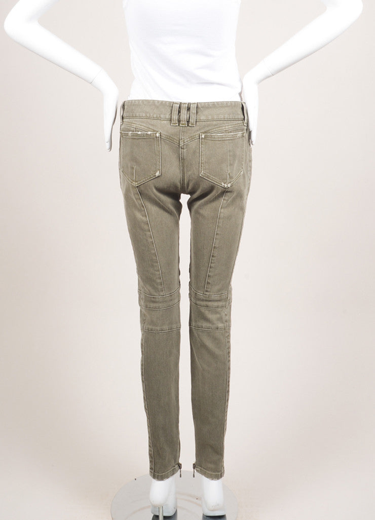 Balmain New With Tags Grey Denim Distressed Zip Moto Jeans Backview