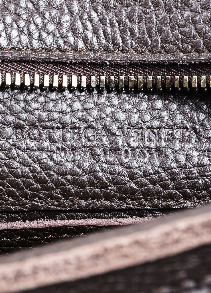 Ebano Brown Bottega Veneta Pebbled Leather Woven Detail Top Handle Zip Tote Bag Brand