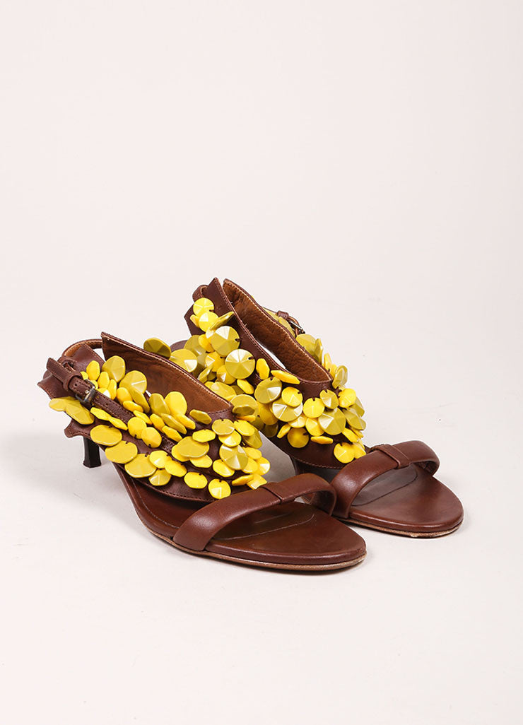 "Burberry Prorsum Brown and Yellow Beaded T-Strap Leather Kitten Heel ""Ligonier"" Sandals Frontview"