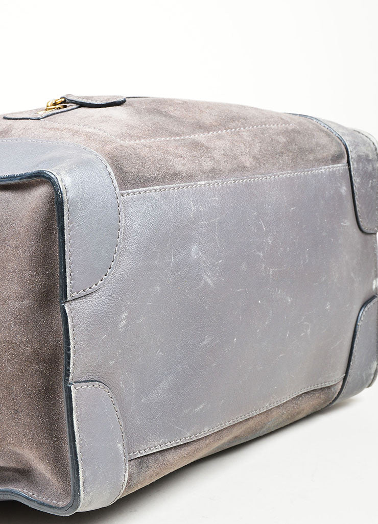 Grey Celine Suede and Leather Mini Luggage Tote Bag Bottom View