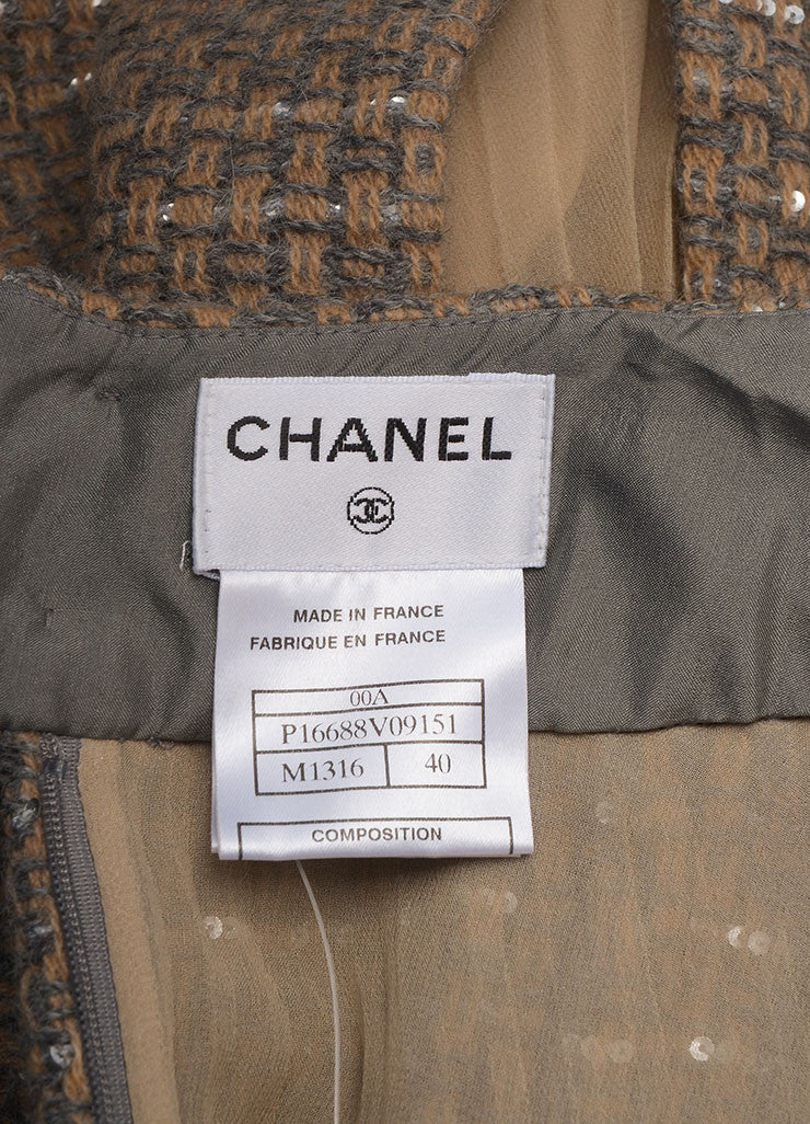 Chanel Tan and Grey Wool Blend and Silk Woven Sequin Embellished Pleated Skirt Brand