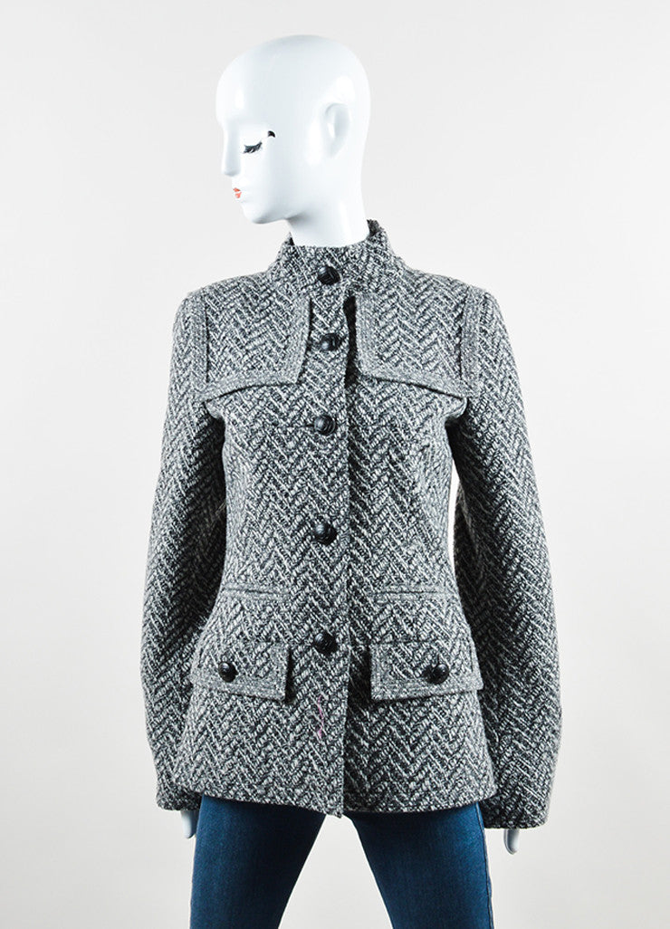 "Chanel Black and White Wool Tweed Zig Zag ""CC"" Button Down Coat Frontview 2"