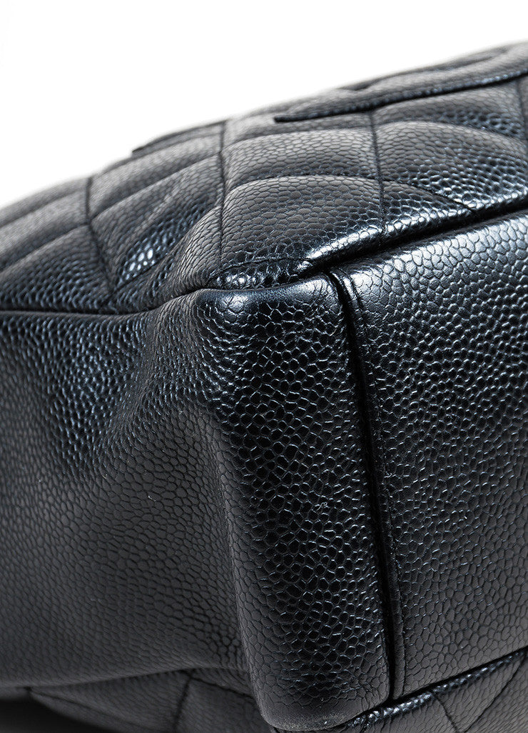 "Black Chanel Caviar Leather Quilted 'CC' Chain Strap ""Petite Shopping"" Tote Bag Detail"