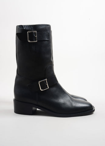 Chanel Black Leather Asymmetrical Zip Stacked Heel Moto Boots Sideview