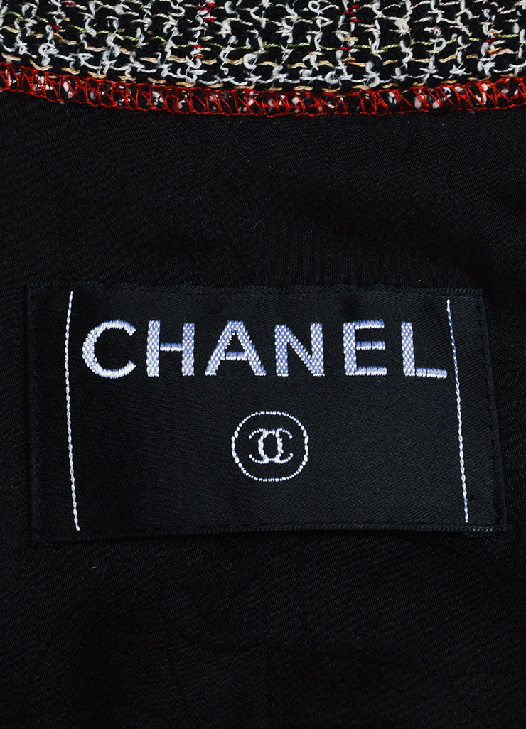 Black, White, and Red Chanel Tweed Structured Serged Trim Jacket Brand