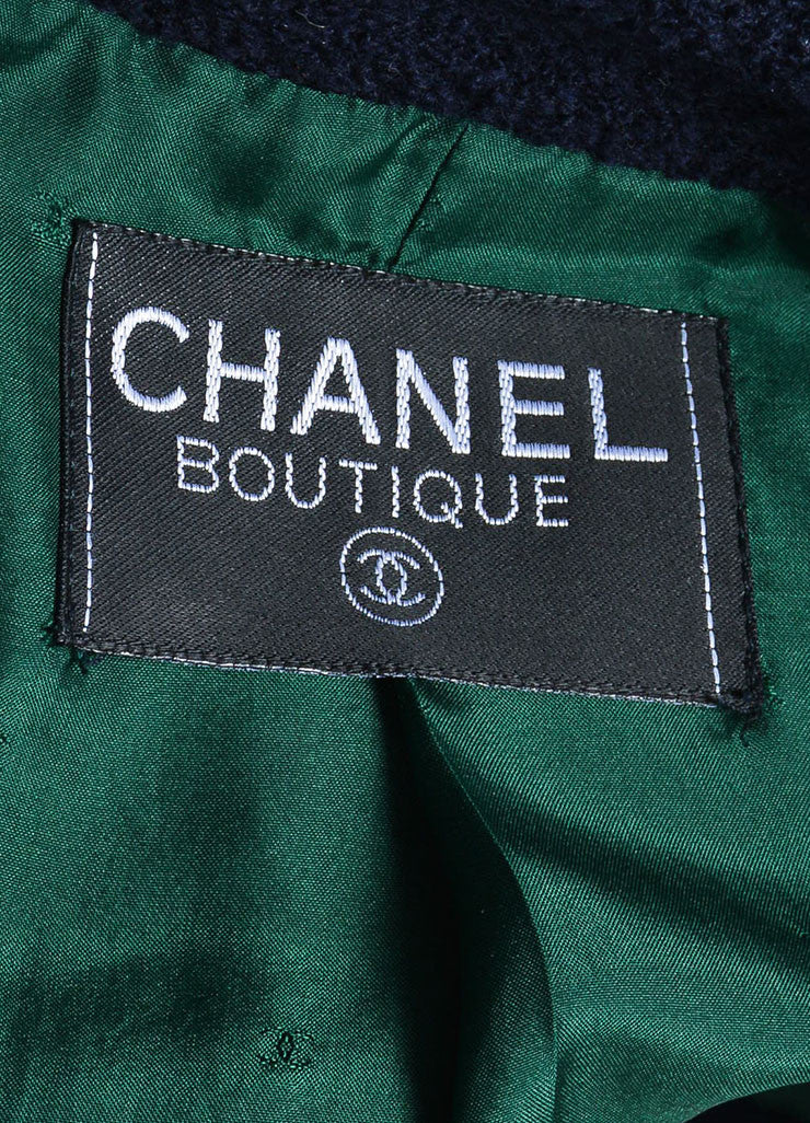 Chanel Forest Green and Navy Boucle Knit Embellished Button Blazer Jacket Brand