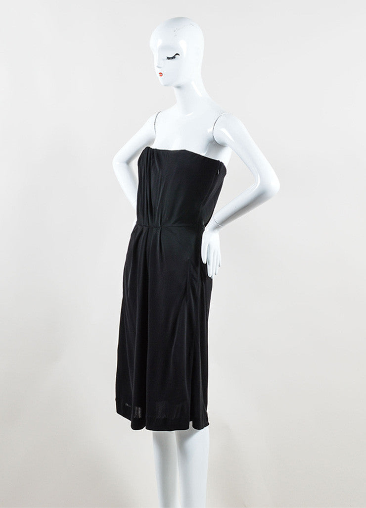 Chanel Black Jersey Pleated Corset Strapless Dress Sideview